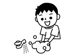手洗いする子供の白黒イラスト かわいい無料の白黒イラスト モノぽっと