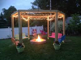 patio with fire pit and pergola. We Love Our Fire Pit Swing. Patio With And Pergola