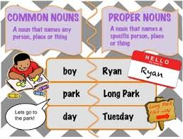 Noun Picture Chart Proper And Common Noun Anchor Chart With Worksheets