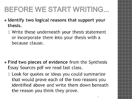 did you turn in synthesis essay sources pdf your annotations  before we start writing
