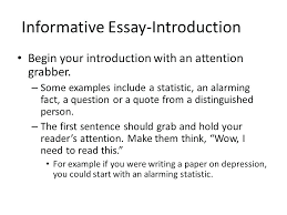 example informative essay informative essay outline informative  example informative essay informative essay an introduction pertaining to enchanting examples of attention grabbers for essays