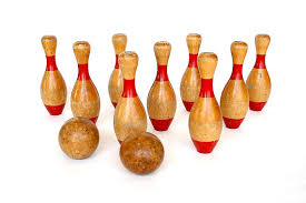 Antique Wooden Bowling Game Skittles Game Vintage Game Bowling Game 100 Pin Bowling 23