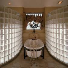 curved glass block shower partition