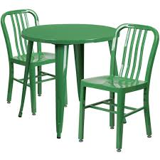 outdoor metal table. Contemporary Table 30u0027u0027 Round Green Metal IndoorOutdoor Table Set With 2 Vertical Slat Back For Outdoor L