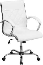 leather office chair amazon. Flash Furniture Mid-Back Designer White Leather Executive Office Chair With Chrome Base | Shopswell Amazon 3