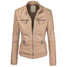vegan biker brown faux leather jacket women