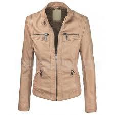 vegan biker brown faux leather jacket women