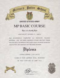 United States Army Military Police School Military Police School Certificate Mp Basic Course Certificate