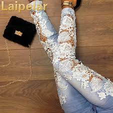 <b>Laipelar</b> Fashion <b>Women Jeans</b> Ladies Lace Floral Splice High ...