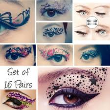 even though they re only 4 for each set this set of 16 temporary tattoo eye makeup transfers for 25 is the best deal just in case you mess up