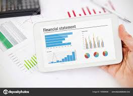 Tablet Chart Financial Statement Chart On Tablet Stock Photo