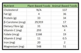 Nutrients In Plant And Animal Foods Whole Food Plant Based