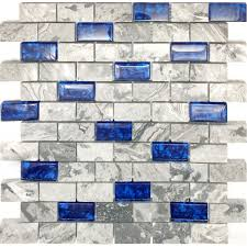 navy blue glass tile backsplash grey marble mosaic wave patterns 1 x 2 subway