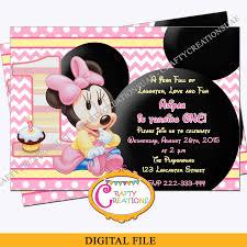 Baby Minnie Mouse Birthday Invitation Baby Minnie First Birthday Party Invite Digital