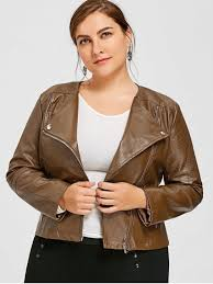 lady faux leather plus size biker jacket brown 5xl