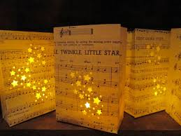 Decorative Stars For Parties 1 Twinkle Twinkle Little Star Luminary Bag Vintage Sheet Music