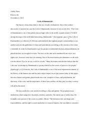 the code of hammurabi charlie biyong the code of hammurabi 6 pages ashley estus code of hammurabi essay docx