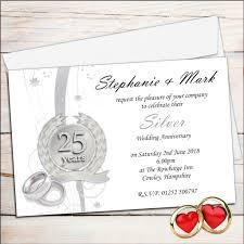 invitations cards free free 25th wedding anniversary invitations 25th wedding