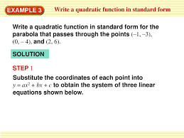 write a quadratic function in vertex form ppt example 3 write a quadratic function in