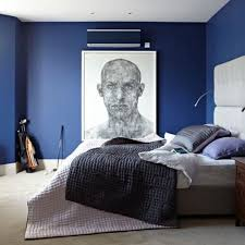 modern bedroom decorating ideas with navy blue cabinet and stylish platform bed