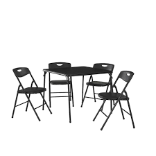Cosco 5 Piece Black Folding Table And Chair Set 37 557blk9 The