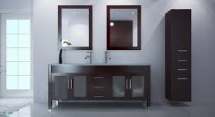 Bathroom : Bathroom With Black Vanity Cabinet With Double Sink And Two  Mirror Plus Black Wooden Floating Cabinet Having Drawer As Well As Storage  Cabinets ...