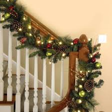 ... Christmas Banister Decoration The Cordless Ornament Garland The  Cordless Ornament Garland Banister Banquette Simple Banister Christmas ...
