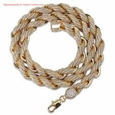 whole 22k gold men s necklace hip hop iced out rope chain link necklace hip