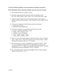 in class worksheet solubility net ionic equations mvhs