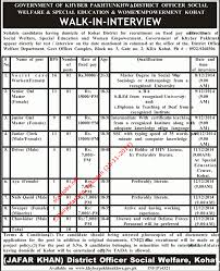 walk in interview in welfare and special education and women walk in interview in welfare and special education and women employment kohat