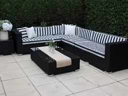 gartemoebe modular outdoor wicker furniture l shaped black wicker with black and white striped cushions