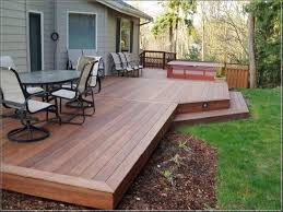 backyard deck design ideas. Attached Benches And Classic Railing For Low Deck Outdoor Intended Designs Ideas Backyard Design E