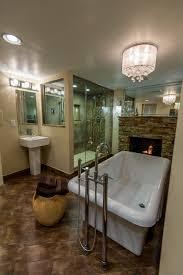 Bathroom:Minimalist Bathroom Design With Gas Fireplace And Small White  Bathtub Decor Ideas Charming Bathroom