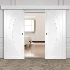 white double door. Thruslide Surface Salerno Flush - Sliding Double Door And Track Kit White Primed