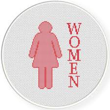 charts club members only women bathroom sign cross stitch pattern