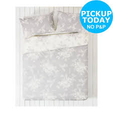 the collection lottie grey and white bedding set double argos v001731