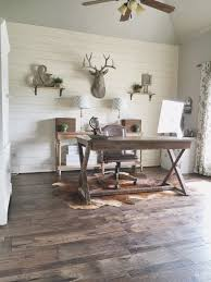 rustic home office with diy shiplap wall and beautiful hickory wood flooring jillify it on