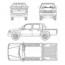 Truck Pickup Types Template Drawing Vector | SOIDERGI