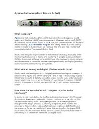 Apollo Audio Interface Faq Manualzz Com