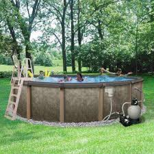 home swimming pools above ground. Riviera 18 Ft. Round 54 In. Deep 8 Top Rail Metal Wall Home Swimming Pools Above Ground