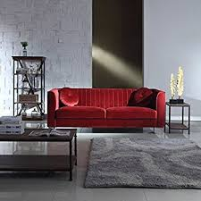red velvet sofa. Classic And Traditional Living Room Marilyn Velvet Sofa With Tufted Accent Pillows (Red) Red Y