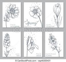 Flowers Templates Collection Of 6 Cards With Hand Drawn Spring Flowers