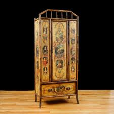 armoire furniture antique. English Bamboo Wardrobe Or Armoire With Decoupage, C. 1880 Furniture Antique
