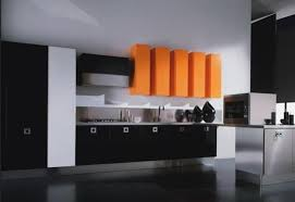 ... Black And White Kitchen Design With Wooden Dining Furniture And  Stainless Steel Appliances