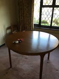 retro mid 20th century mcintosh teak round circular oval extending dining table