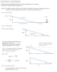 trigonometry word problems notes and examples angle of elevation vs depression example