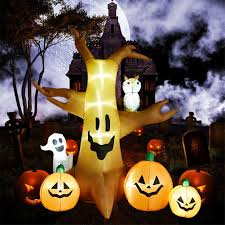 Pumpkin Yard Light Cover Superjare 8 Ft Halloween Inflatable Dead Tree With Ghost Pumpkin Blow Up Decoration With Led Light Indoor Outdoor Yard Lawn Decor