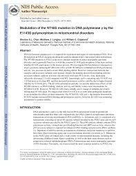 pdf modulation of the w748s mutation in dna polymerase gamma by the e1143g polymorphismin mitochondrial disorders