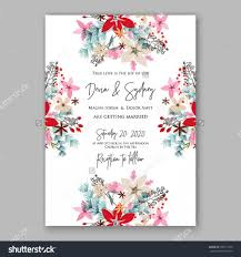 Wedding Invitation Card Sample Wedding Invitation Card Template With Winter Bridal Bouquet