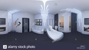 virtual home office. 3d Illustration Of Interior Design A Home Office In Space Style. Render Executed, 360 Degree Spherical Seamless Panorama For Virtual Reality. The